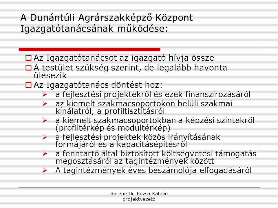 Ráczné Dr. Rózsa Katalin projektvezető A Dunántúli Agrárszakképző Központ Igazgatótanácsának működése:  Az Igazgatótanácsot az igazgató hívja össze 