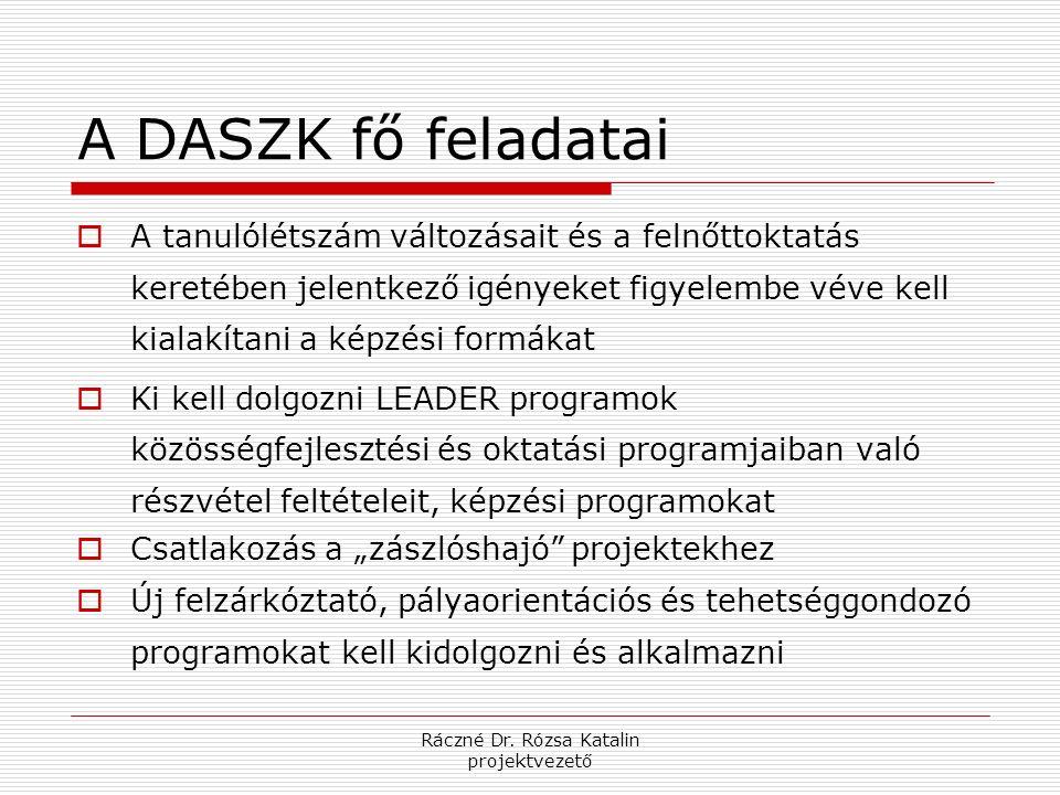 Ráczné Dr. Rózsa Katalin projektvezető A DASZK fő feladatai  A tanulólétszám változásait és a felnőttoktatás keretében jelentkező igényeket figyelemb