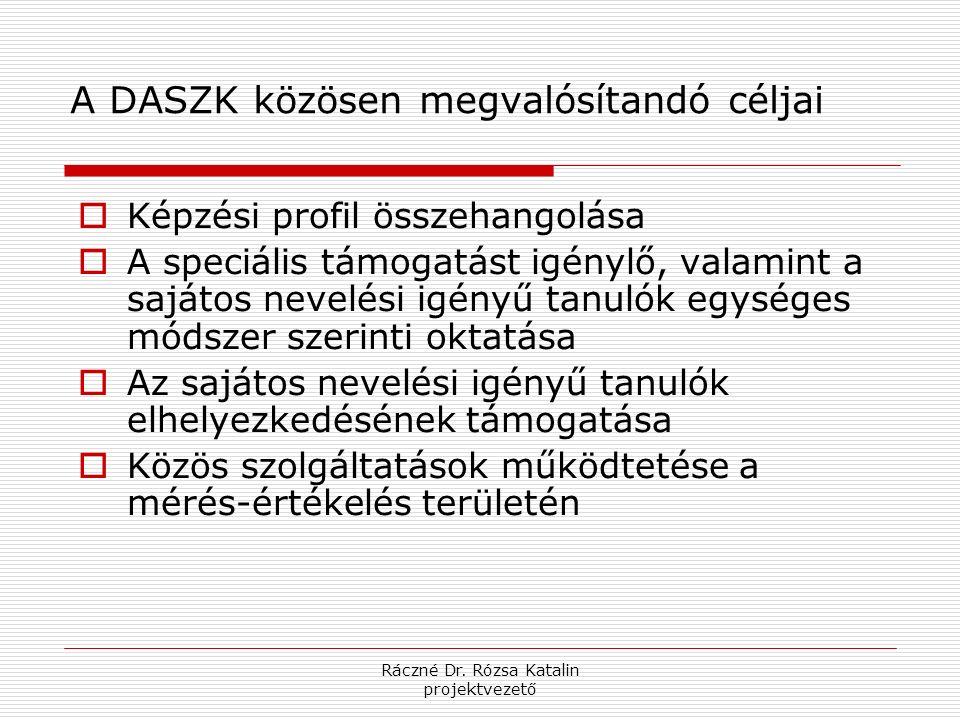 Ráczné Dr. Rózsa Katalin projektvezető A DASZK közösen megvalósítandó céljai  Képzési profil összehangolása  A speciális támogatást igénylő, valamin
