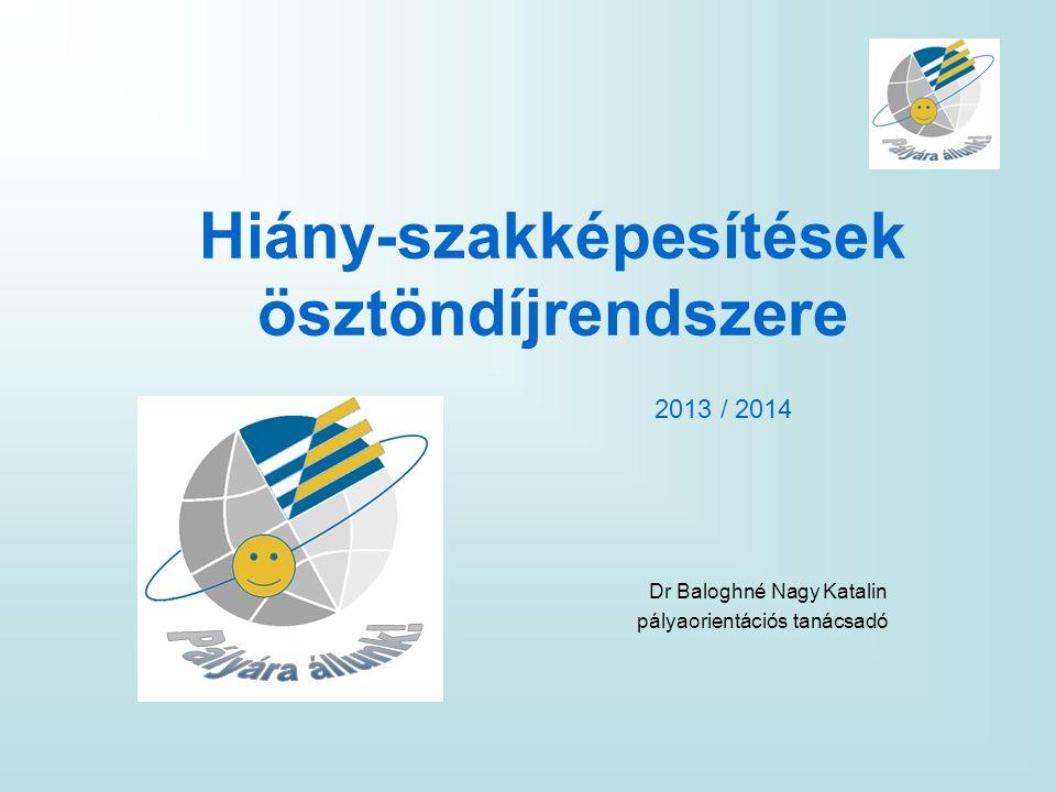 Hiány-szakképesítések ösztöndíjrendszere Dr Baloghné Nagy Katalin pályaorientációs tanácsadó 2013 / 2014