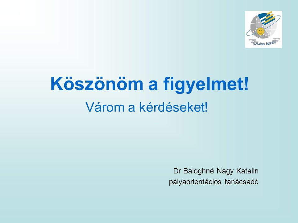 Köszönöm a figyelmet! Várom a kérdéseket! Dr Baloghné Nagy Katalin pályaorientációs tanácsadó