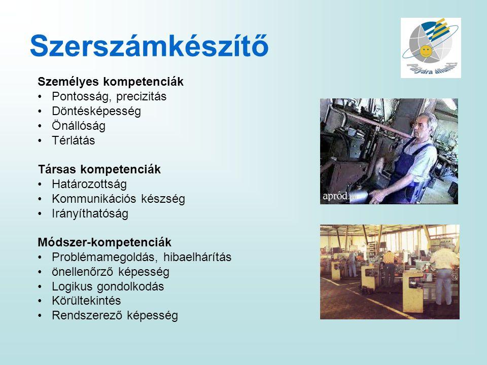 Szerszámkészítő Személyes kompetenciák Pontosság, precizitás Döntésképesség Önállóság Térlátás Társas kompetenciák Határozottság Kommunikációs készség