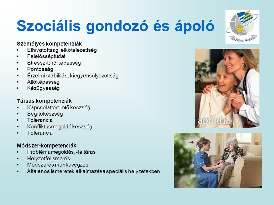 Szociális gondozó és ápoló Személyes kompetenciák Elhivatottság, elkötelezettség Felelősségtudat Stressz-tűrő képesség Pontosság Érzelmi stabilitás, k