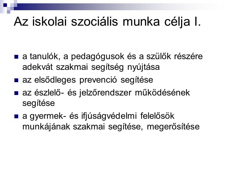 Az iskolai szociális munka célja I.