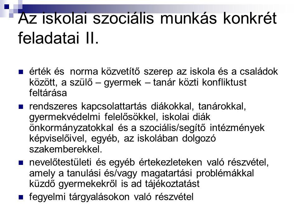 Az iskolai szociális munkás konkrét feladatai II.