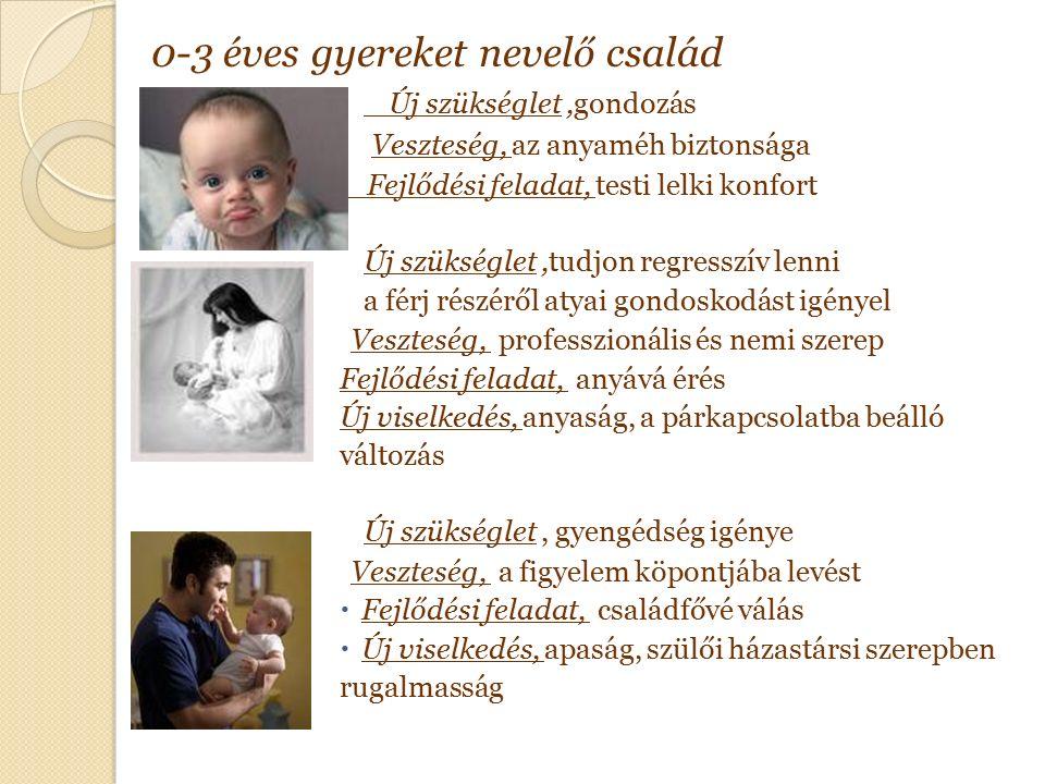 0-3 éves gyereket nevelő család Új szükséglet,gondozás Veszteség, az anyaméh biztonsága Fejlődési feladat, testi lelki konfort Új szükséglet,tudjon regresszív lenni a férj részéről atyai gondoskodást igényel Veszteség, professzionális és nemi szerep Fejlődési feladat, anyává érés Új viselkedés, anyaság, a párkapcsolatba beálló változás Új szükséglet, gyengédség igénye Veszteség, a figyelem köpontjába levést  Fejlődési feladat, családfővé válás  Új viselkedés, apaság, szülői házastársi szerepben rugalmasság