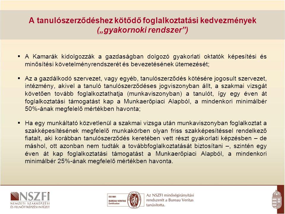 A tanulószerződések számának alakulása a Magyar Kereskedelmi és Iparkamara nyilvántartása lapján A tanulószerződések számának alakulása év 1999- 2000 2000- 2001 2001- 2002 2002- 2003 2003- 2004 2004- 2005 2005- 2006 2006- 2007 2007- 2008 2008- 2009 2009- 2010 db8.30010.10012.70014.80016.40022.00032.00038.00044.00046.000 48.000