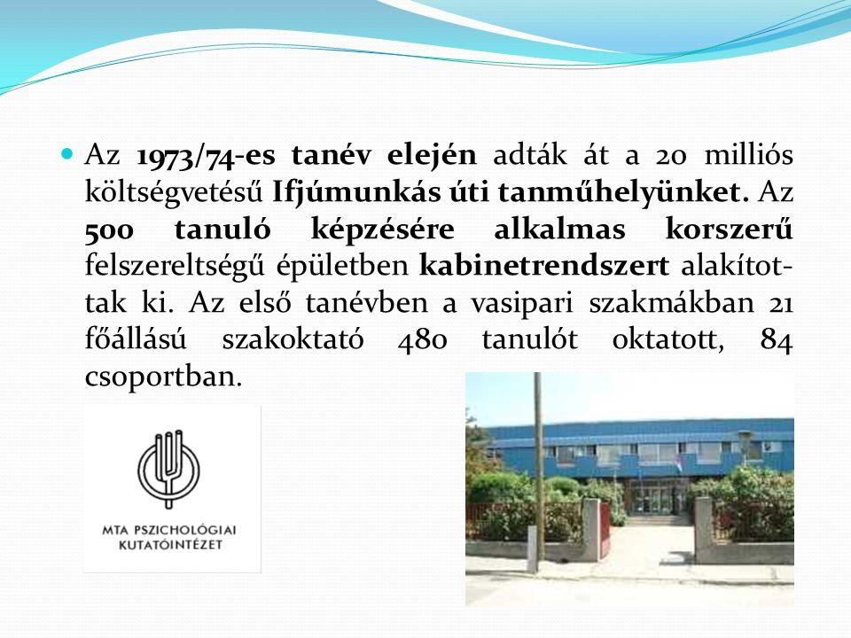 Az 1973/74-es tanév elején adták át a 20 milliós költségvetésű Ifjúmunkás úti tanműhelyünket.