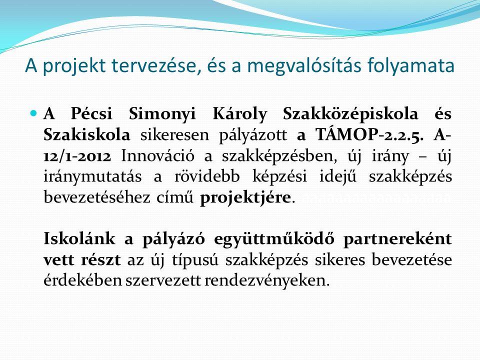 A projekt tervezése, és a megvalósítás folyamata A Pécsi Simonyi Károly Szakközépiskola és Szakiskola sikeresen pályázott a TÁMOP-2.2.5.