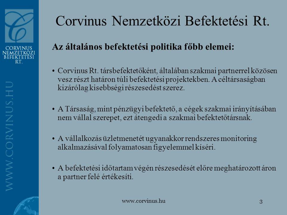 www.corvinus.hu3 Corvinus Nemzetközi Befektetési Rt. Az általános befektetési politika főbb elemei: Corvinus Rt. társbefektetőként, általában szakmai