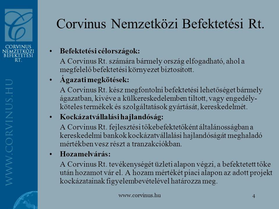 www.corvinus.hu4 Befektetési célországok: A Corvinus Rt. számára bármely ország elfogadható, ahol a megfelelő befektetési környezet biztosított. Ágaza