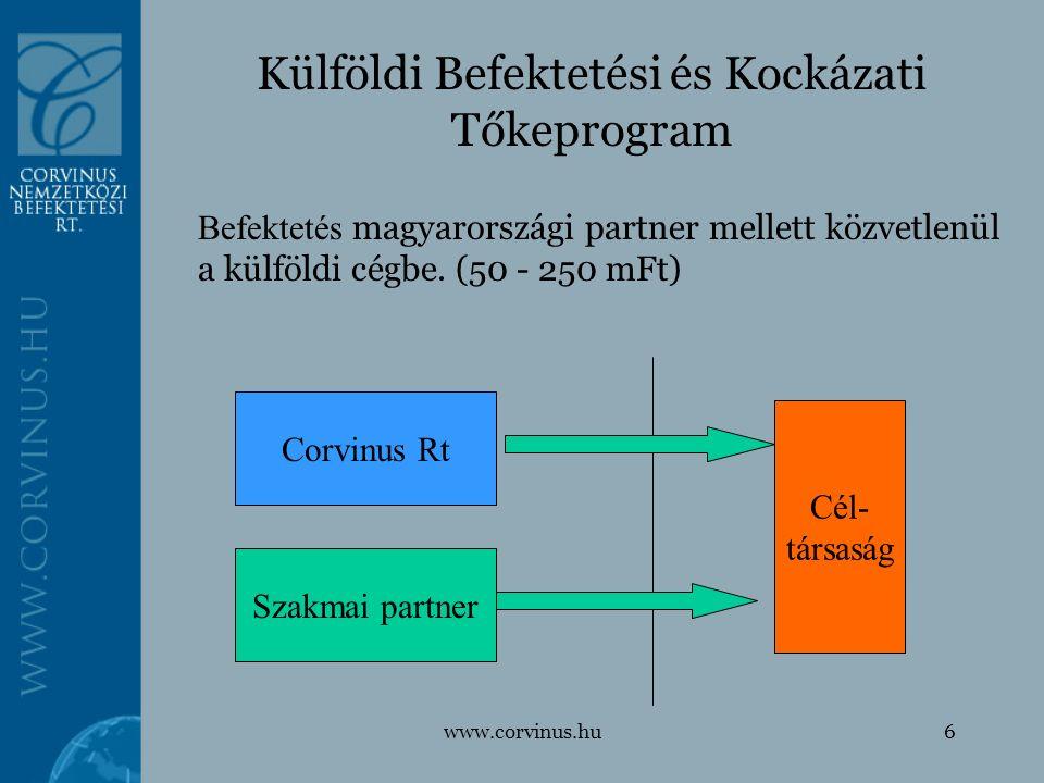 www.corvinus.hu6 Külföldi Befektetési és Kockázati Tőkeprogram Befektetés magyarországi partner mellett közvetlenül a külföldi cégbe. (50 - 250 mFt) C