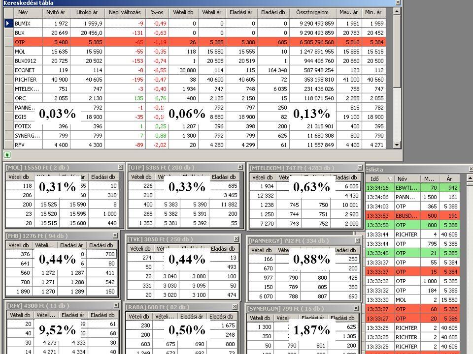 Dr. Ormos Mihály, Befektetések21 0,03%0,06%0,13% 0,31%0,33%0,63% 0,44% 0,88% 9,52%0,50%1,87%