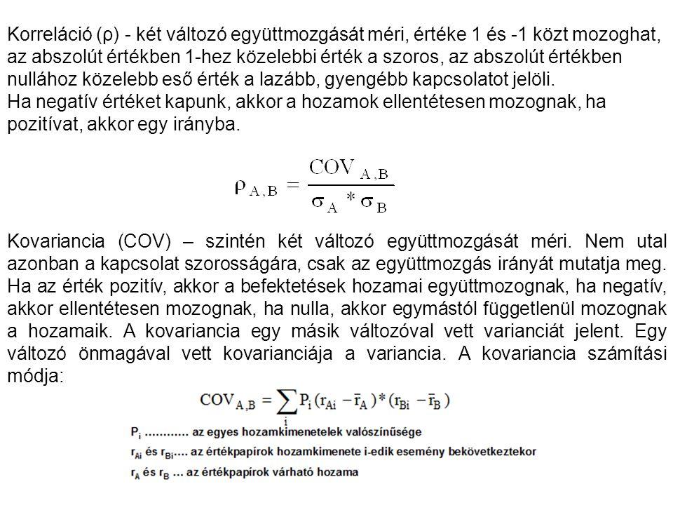 Korreláció (ρ) - két változó együttmozgását méri, értéke 1 és -1 közt mozoghat, az abszolút értékben 1-hez közelebbi érték a szoros, az abszolút értékben nullához közelebb eső érték a lazább, gyengébb kapcsolatot jelöli.