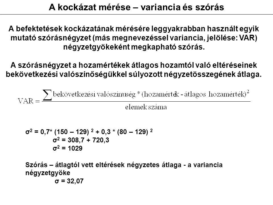 A kockázat mérése – variancia és szórás A befektetések kockázatának mérésére leggyakrabban használt egyik mutató szórásnégyzet (más megnevezéssel variancia, jelölése: VAR) négyzetgyökeként megkapható szórás.