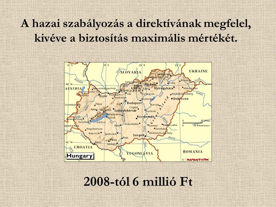 2008-tól 6 millió Ft A hazai szabályozás a direktívának megfelel, kivéve a biztosítás maximális mértékét.