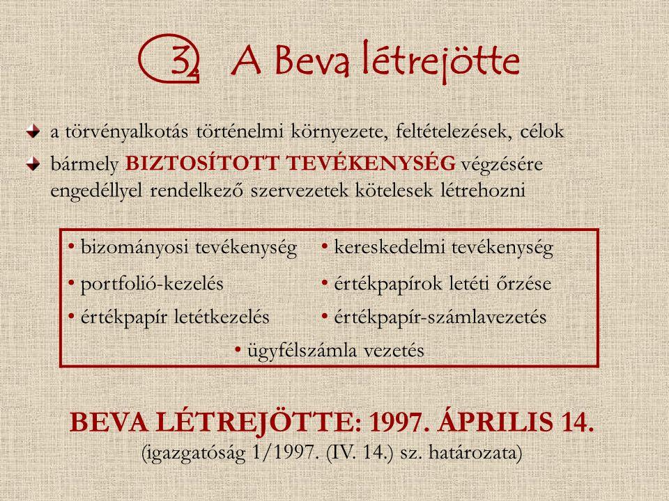 3. A Beva létrejötte a törvényalkotás történelmi környezete, feltételezések, célok bármely BIZTOSÍTOTT TEVÉKENYSÉG végzésére engedéllyel rendelkező sz