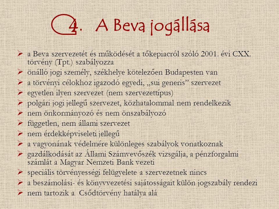 4. A Beva jogállása  a Beva szervezetét és működését a tőkepiacról szóló 2001.
