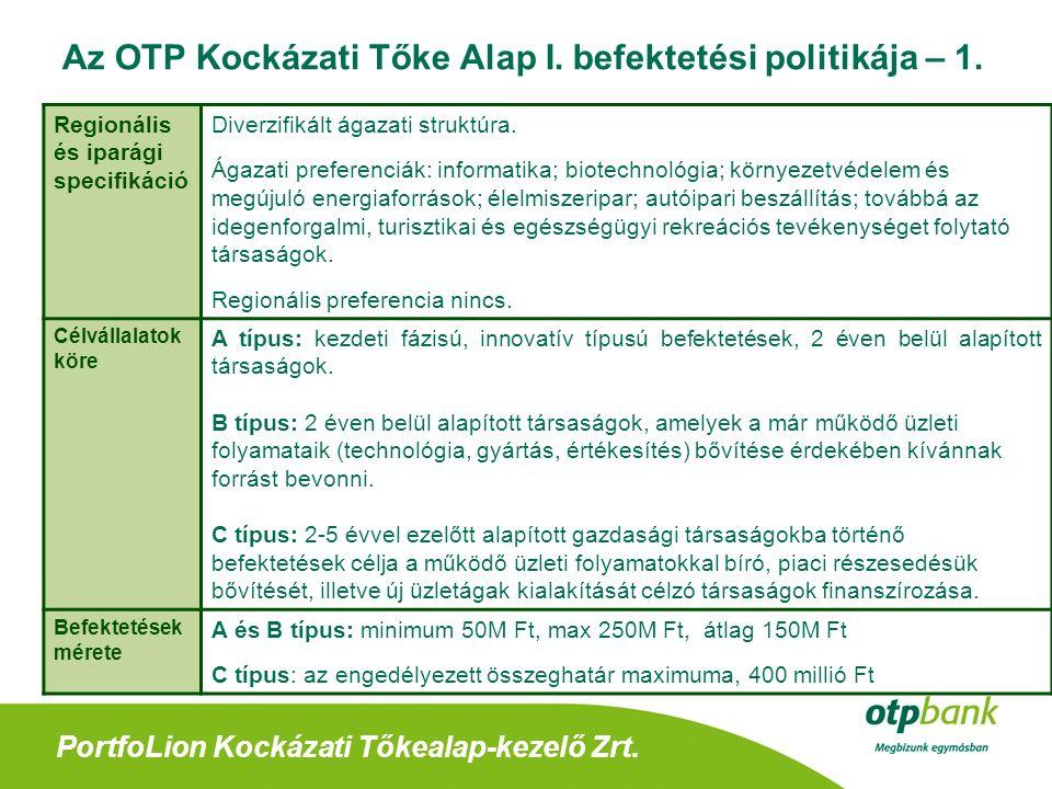 PortfoLion Kockázati Tőkealap-kezelő Zrt. Az OTP Kockázati Tőke Alap I.
