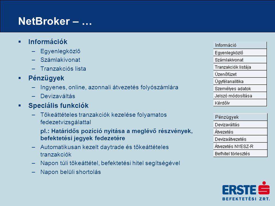 NetBroker – …  Információk –Egyenlegközlő –Számlakivonat –Tranzakciós lista  Pénzügyek –Ingyenes, online, azonnali átvezetés folyószámlára –Devizaváltás  Speciális funkciók –Tőkeáttételes tranzakciók kezelése folyamatos fedezetvizsgálattal pl.: Határidős pozíció nyitása a meglévő részvények, befektetési jegyek fedezetére –Automatikusan kezelt daytrade és tőkeáttételes tranzakciók –Napon túli tőkeáttétel, befektetési hitel segítségével –Napon belüli shortolás