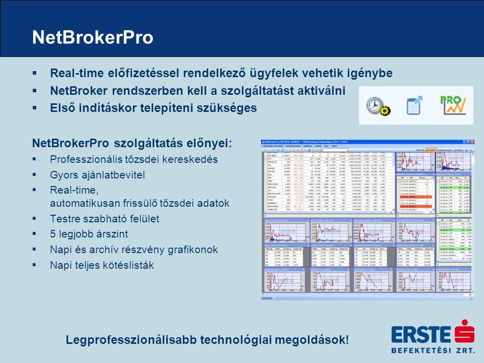  Real-time előfizetéssel rendelkező ügyfelek vehetik igénybe  NetBroker rendszerben kell a szolgáltatást aktiválni  Első indításkor telepíteni szükséges NetBrokerPro szolgáltatás előnyei:  Professzionális tőzsdei kereskedés  Gyors ajánlatbevitel  Real-time, automatikusan frissülő tőzsdei adatok  Testre szabható felület  5 legjobb árszint  Napi és archív részvény grafikonok  Napi teljes kötéslisták NetBrokerPro Legprofesszionálisabb technológiai megoldások!