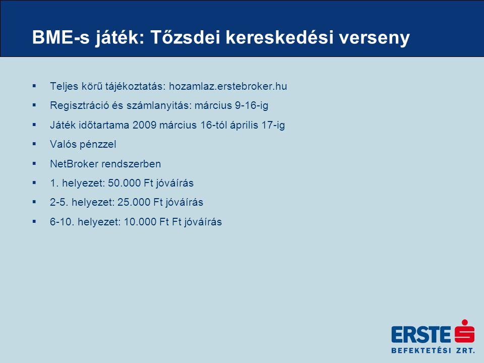 BME-s játék: Tőzsdei kereskedési verseny  Teljes körű tájékoztatás: hozamlaz.erstebroker.hu  Regisztráció és számlanyitás: március 9-16-ig  Játék időtartama 2009 március 16-tól április 17-ig  Valós pénzzel  NetBroker rendszerben  1.