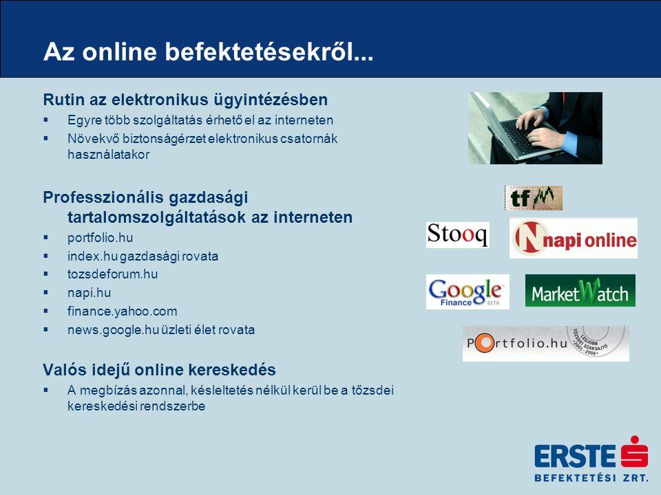 Elektronikus tőzsde  Amerika –Nyílt kikiáltásos piacok –ECN  Európa –Nyílt kikiáltásos piacok –Elektronikus tőzsdék –MTF-ek  BÉT –1990-1995:nyílt kikiáltásos kereskedés - részleges elektronikus támogatással –1995-1998: mind kereskedési teremben, mind távkereskedési rendszerben –1998-tól: kizárólag távkereskedési rendszer, a MultiMarket Trading System-et (MMTS) (199-től a határidős piacon is)  Erste kapcsolat –K2