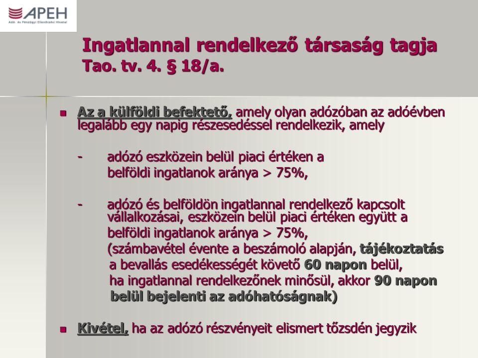 Ingatlannal rendelkező társaság tagja Tao. tv. 4. § 18/a. Az a külföldi befektető, amely olyan adózóban az adóévben legalább egy napig részesedéssel r