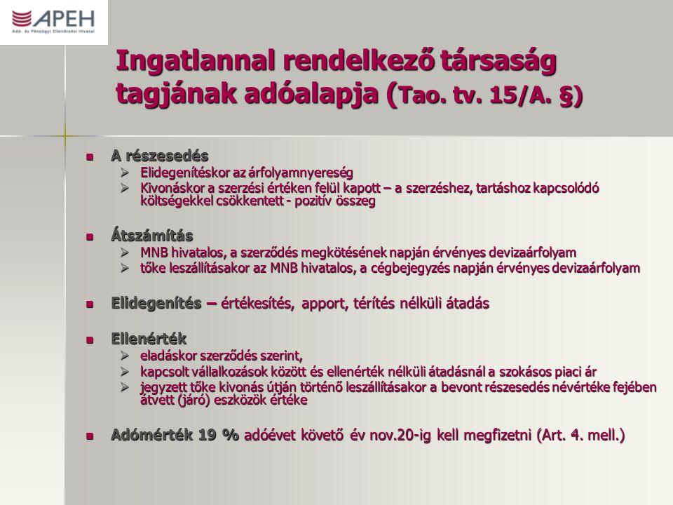 Ingatlannal rendelkező társaság tagjának adóalapja ( Tao. tv. 15/A. §) A részesedés A részesedés  Elidegenítéskor az árfolyamnyereség  Kivonáskor a