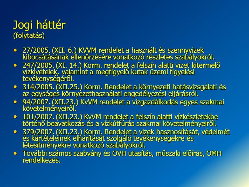 Jogi háttér (folytatás) 27/2005. (XII. 6.) KVVM rendelet a használt és szennyvizek kibocsátásának ellenőrzésére vonatkozó részletes szabályokról. 27/2