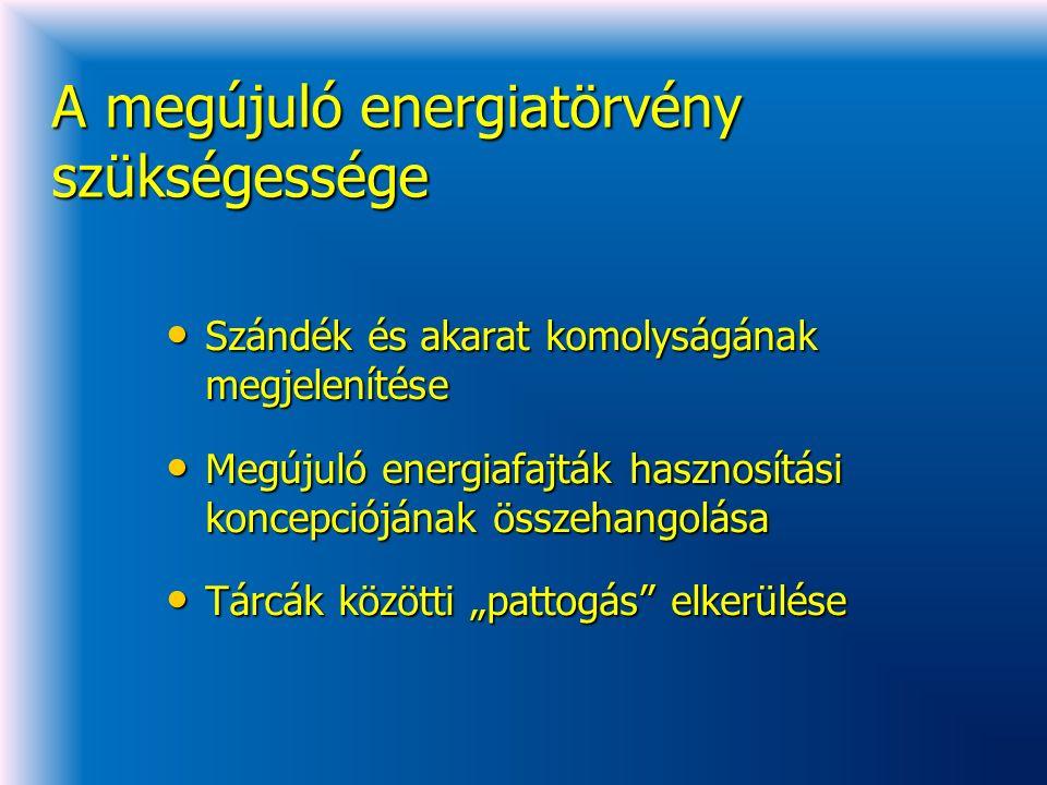 """A megújuló energiatörvény szükségessége Szándék és akarat komolyságának megjelenítése Szándék és akarat komolyságának megjelenítése Megújuló energiafajták hasznosítási koncepciójának összehangolása Megújuló energiafajták hasznosítási koncepciójának összehangolása Tárcák közötti """"pattogás elkerülése Tárcák közötti """"pattogás elkerülése"""
