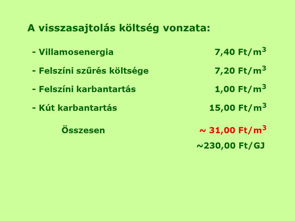 A visszasajtolás költség vonzata: - Villamosenergia 7,40 Ft/m 3 - Felszíni szűrés költsége 7,20 Ft/m 3 - Felszíni karbantartás 1,00 Ft/m 3 - Kút karbantartás15,00 Ft/m 3 Összesen ~ 31,00 Ft/m 3 ~230,00 Ft/GJ