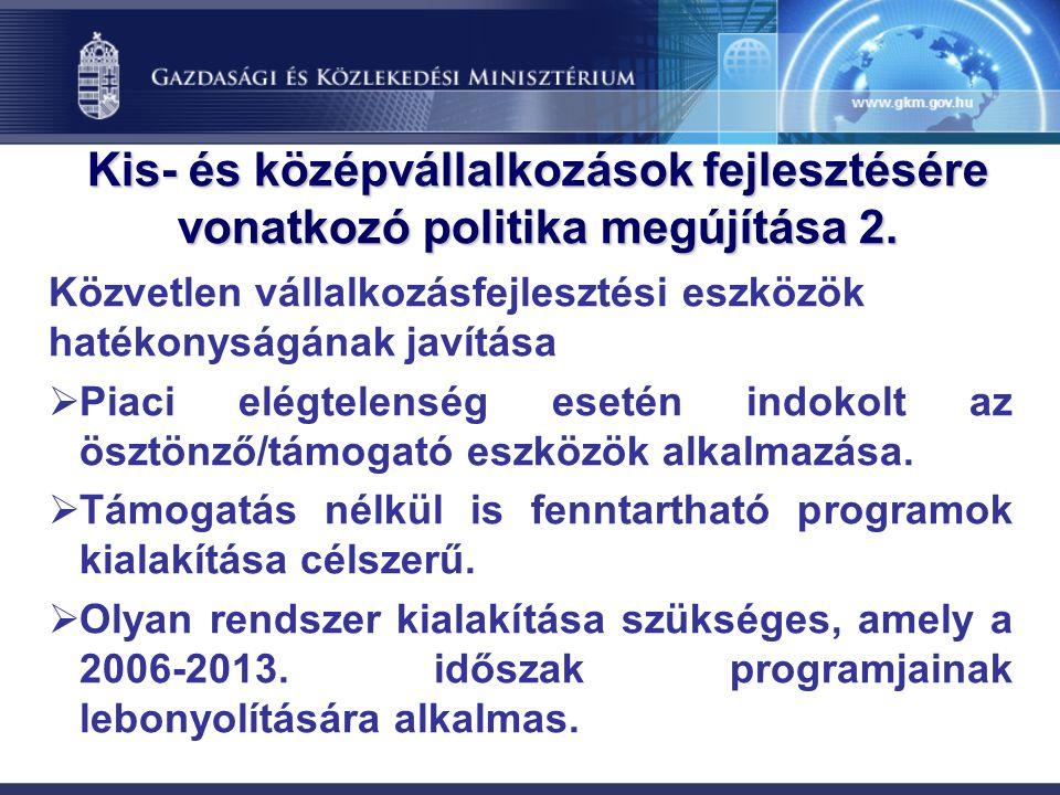 Kis- és középvállalkozások fejlesztésére vonatkozó politika megújítása 2.