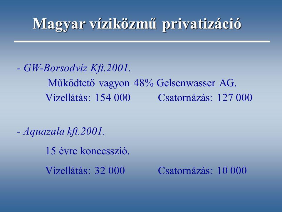 - GW-Borsodvíz Kft.2001. Működtető vagyon 48% Gelsenwasser AG. Vízellátás: 154 000Csatornázás: 127 000 - Aquazala kft.2001. 15 évre koncesszió. Vízell