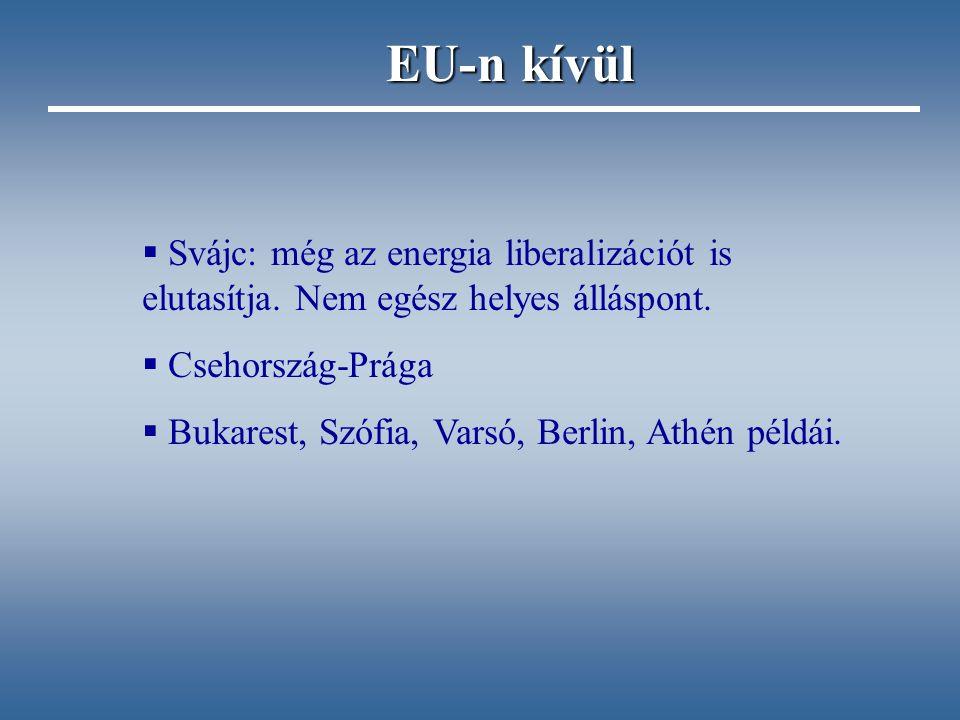  Svájc: még az energia liberalizációt is elutasítja. Nem egész helyes álláspont.  Csehország-Prága  Bukarest, Szófia, Varsó, Berlin, Athén példái.