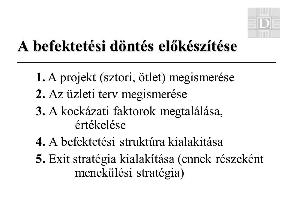 A befektetési döntés előkészítése 1. A projekt (sztori, ötlet) megismerése 2.