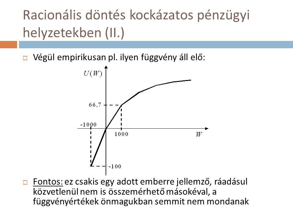 Racionális döntés kockázatos pénzügyi helyzetekben (II.)  Végül empirikusan pl.