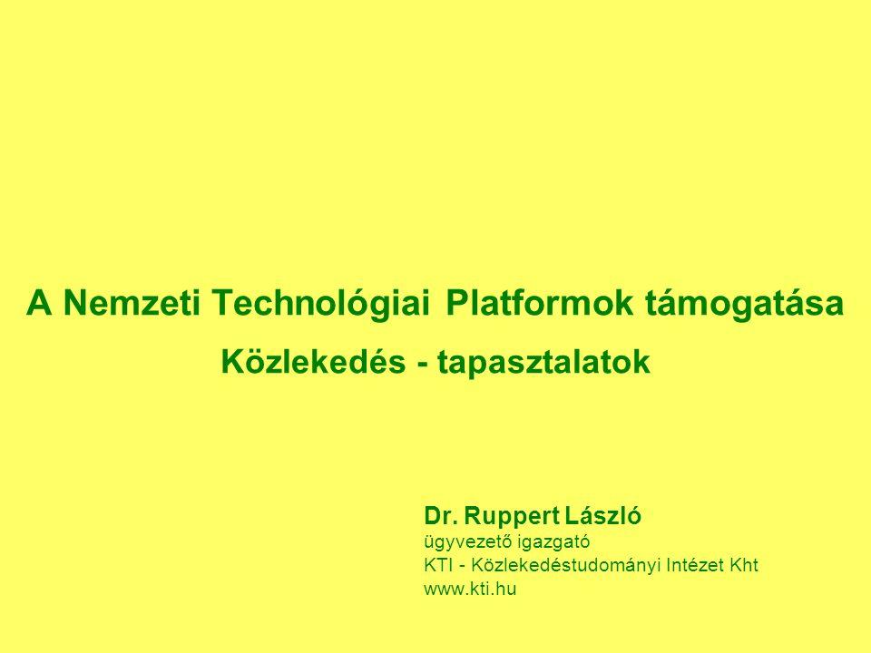 A Nemzeti Technológiai Platformok támogatása Közlekedés - tapasztalatok Dr.