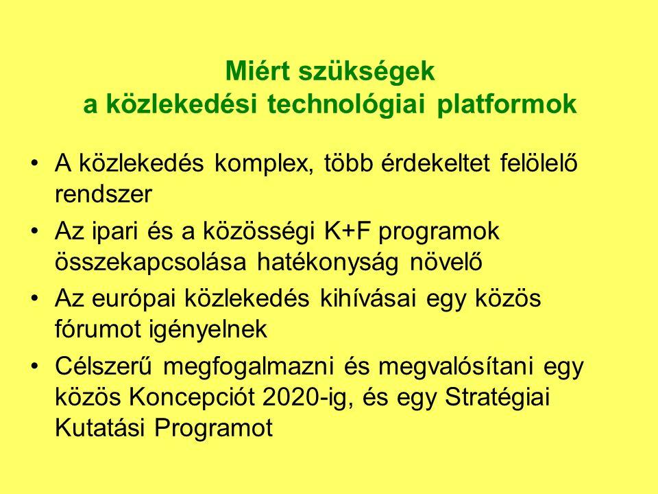 Miért szükségek a közlekedési technológiai platformok A közlekedés komplex, több érdekeltet felölelő rendszer Az ipari és a közösségi K+F programok összekapcsolása hatékonyság növelő Az európai közlekedés kihívásai egy közös fórumot igényelnek Célszerű megfogalmazni és megvalósítani egy közös Koncepciót 2020-ig, és egy Stratégiai Kutatási Programot