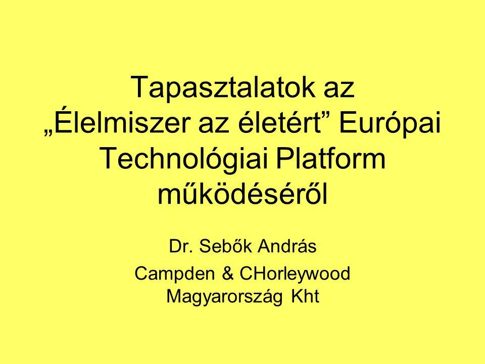 """Tapasztalatok az """"Élelmiszer az életért Európai Technológiai Platform működéséről Dr."""
