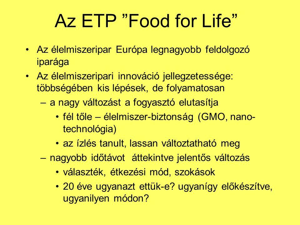 Az ETP Food for Life Az élelmiszeripar Európa legnagyobb feldolgozó iparága Az élelmiszeripari innováció jellegzetessége: többségében kis lépések, de folyamatosan –a nagy változást a fogyasztó elutasítja fél tőle – élelmiszer-biztonság (GMO, nano- technológia) az ízlés tanult, lassan változtatható meg –nagyobb időtávot áttekintve jelentős változás választék, étkezési mód, szokások 20 éve ugyanazt ettük-e.