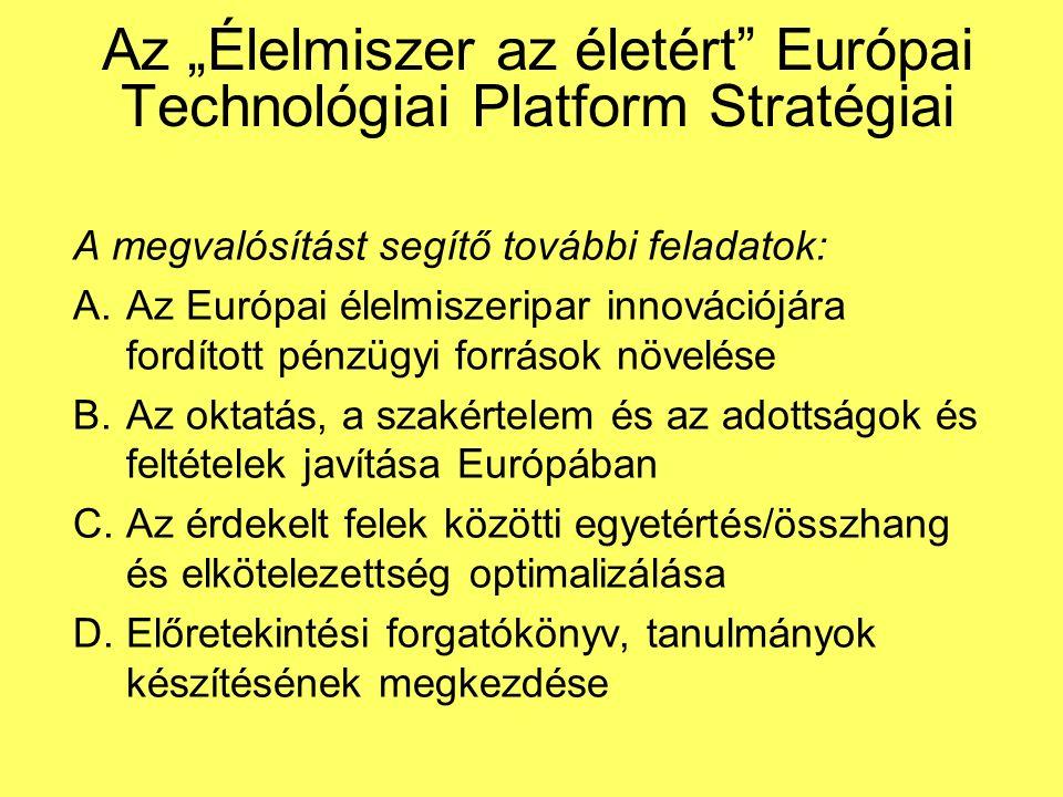 """Az """"Élelmiszer az életért Európai Technológiai Platform Stratégiai A megvalósítást segítő további feladatok: A.Az Európai élelmiszeripar innovációjára fordított pénzügyi források növelése B.Az oktatás, a szakértelem és az adottságok és feltételek javítása Európában C.Az érdekelt felek közötti egyetértés/összhang és elkötelezettség optimalizálása D.Előretekintési forgatókönyv, tanulmányok készítésének megkezdése"""