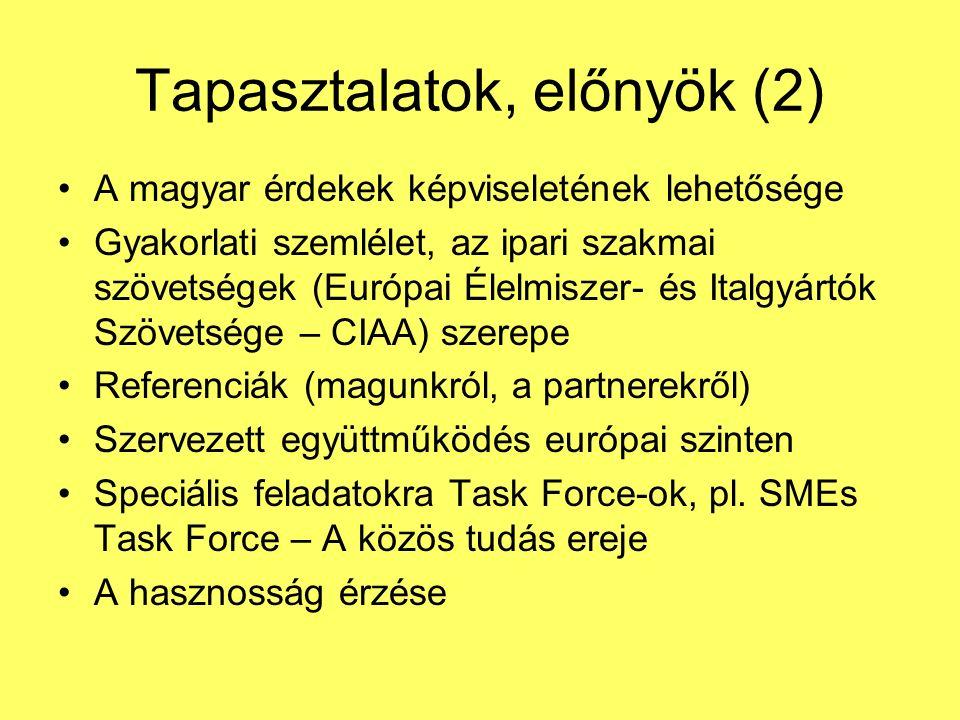 Tapasztalatok, előnyök (2) A magyar érdekek képviseletének lehetősége Gyakorlati szemlélet, az ipari szakmai szövetségek (Európai Élelmiszer- és Italgyártók Szövetsége – CIAA) szerepe Referenciák (magunkról, a partnerekről) Szervezett együttműködés európai szinten Speciális feladatokra Task Force-ok, pl.