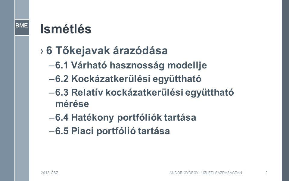 BME Ismétlés ›6 Tőkejavak árazódása –6.1 Várható hasznosság modellje –6.2 Kockázatkerülési együttható –6.3 Relatív kockázatkerülési együttható mérése –6.4 Hatékony portfóliók tartása –6.5 Piaci portfólió tartása 2012.