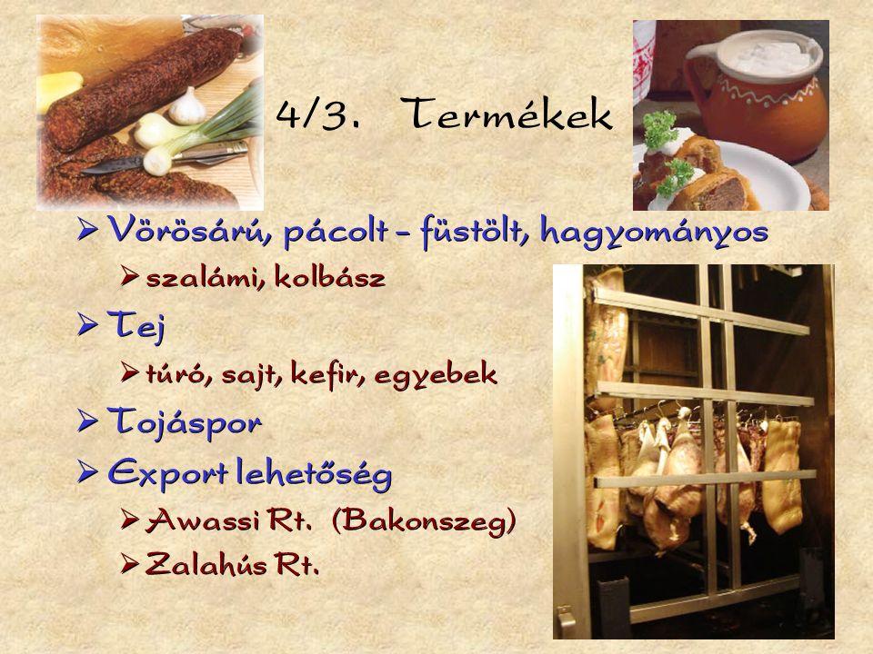  Vörösárú, pácolt - füstölt, hagyományos  szalámi, kolbász  Tej  túró, sajt, kefir, egyebek  Tojáspor  Export lehetőség  Awassi Rt.