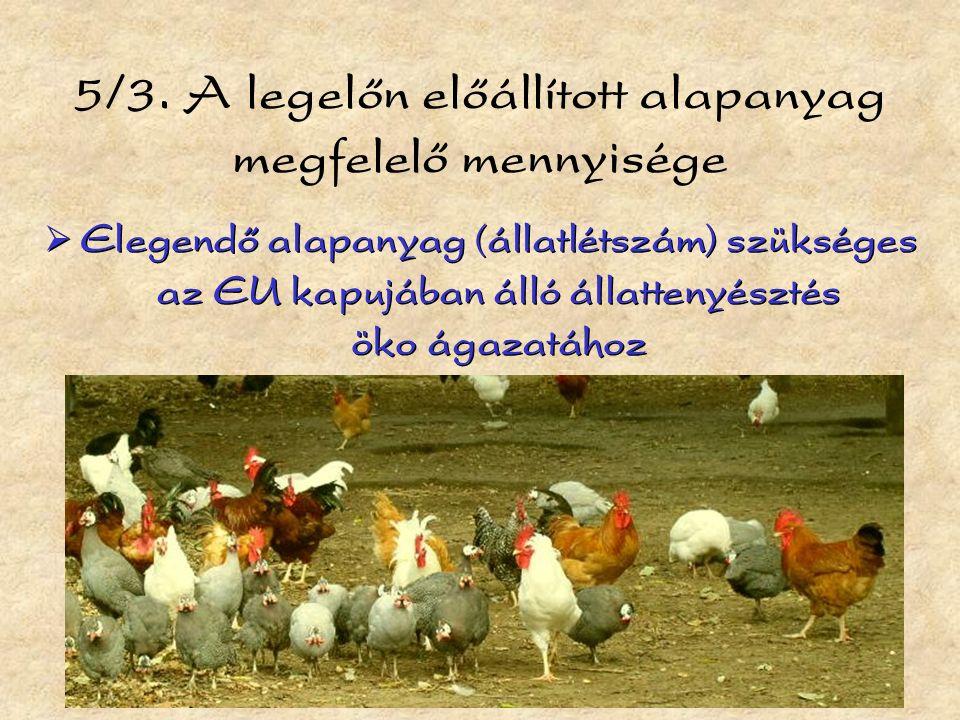 5/3. A legelőn előállított alapanyag megfelelő mennyisége  Elegendő alapanyag (állatlétszám) szükséges az EU kapujában álló állattenyésztés öko ágaza