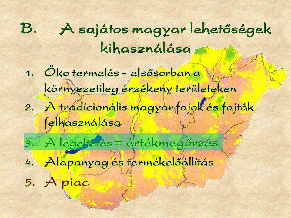 B. A sajátos magyar lehetőségek kihasználása  Öko termelés - elsősorban a környezetileg érzékeny területeken  A tradícionális magyar fajok és fajt