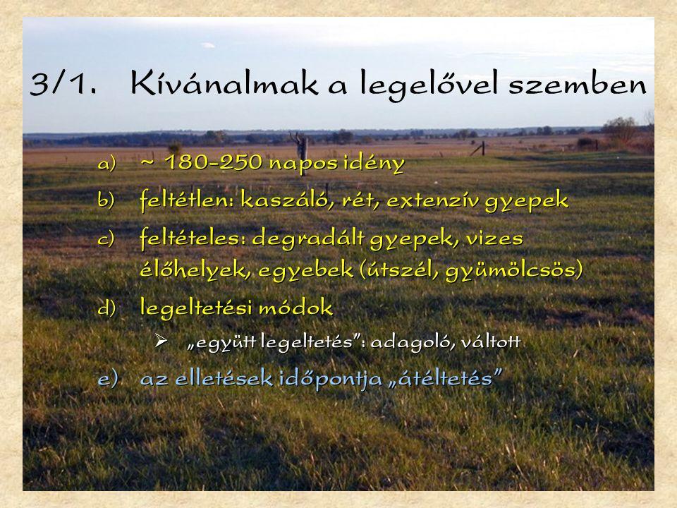 3/1. Kívánalmak a legelővel szemben  ~ 180-250 napos idény  feltétlen: kaszáló, rét, extenzív gyepek  feltételes: degradált gyepek, vizes élőhel