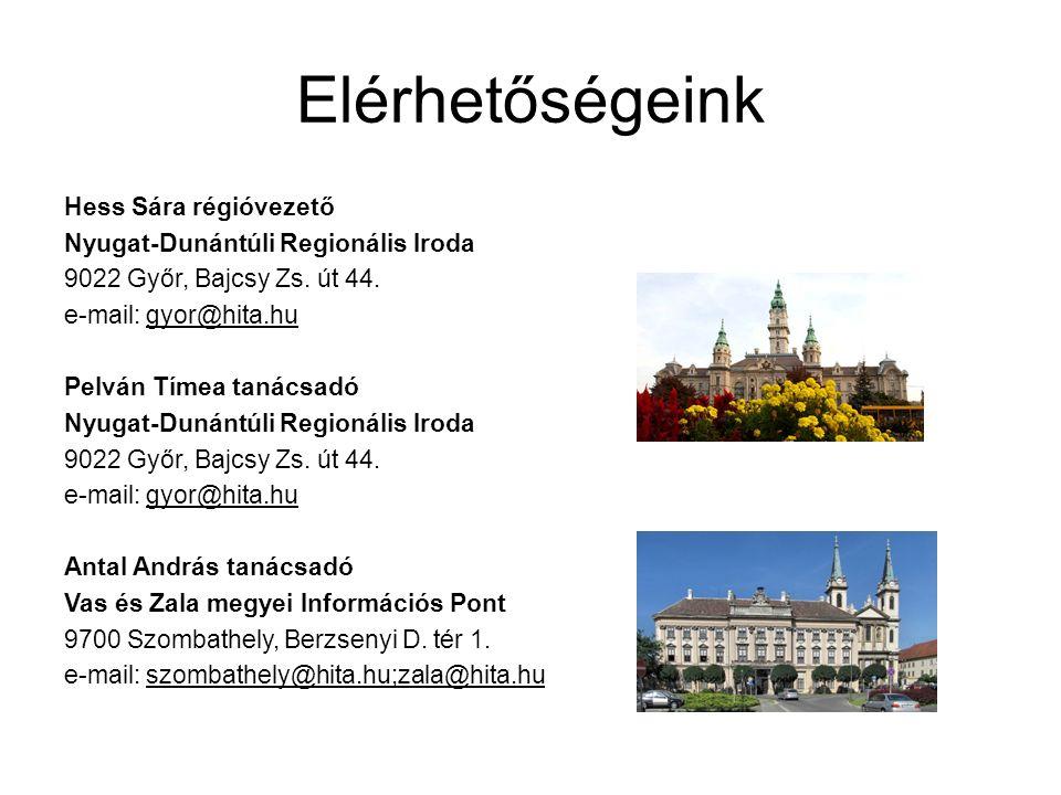 Elérhetőségeink Hess Sára régióvezető Nyugat-Dunántúli Regionális Iroda 9022 Győr, Bajcsy Zs. út 44. e-mail: gyor@hita.hu Pelván Tímea tanácsadó Nyuga