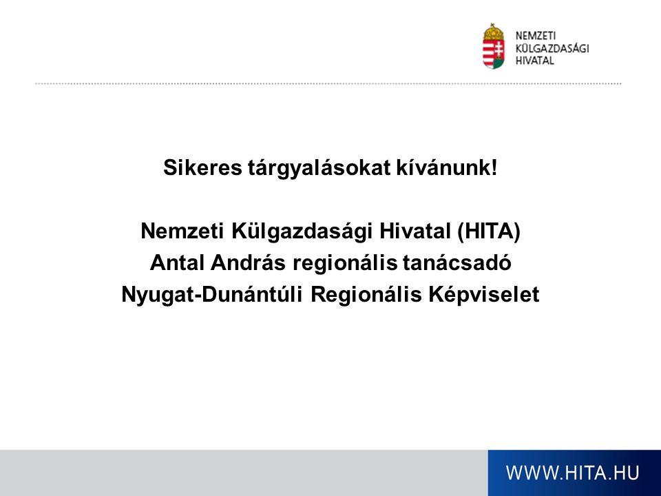 Sikeres tárgyalásokat kívánunk! Nemzeti Külgazdasági Hivatal (HITA) Antal András regionális tanácsadó Nyugat-Dunántúli Regionális Képviselet